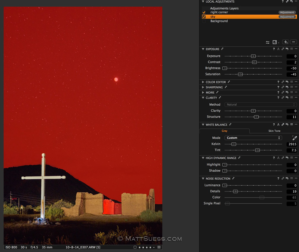 This red here shows the mask I made of the sky in Capture One Pro so I could make adjustments separate from the foreground.