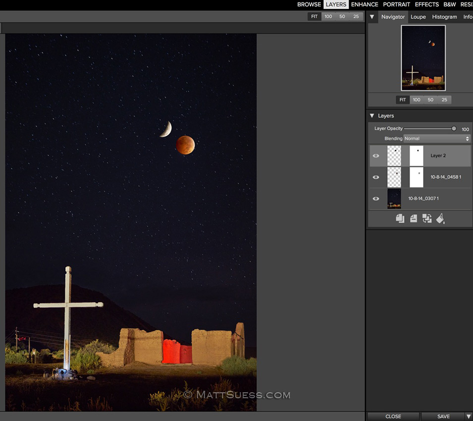 The composite starts to take shape in Layers in Perfect Photo Suite 9.