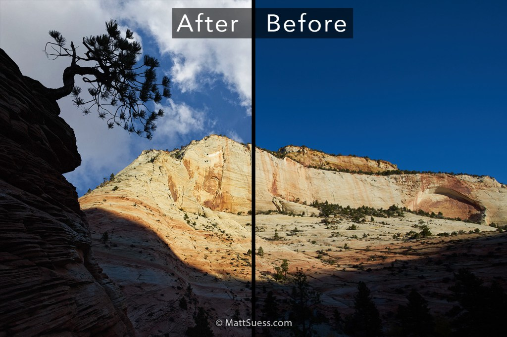 Zion Blue Sky Before After