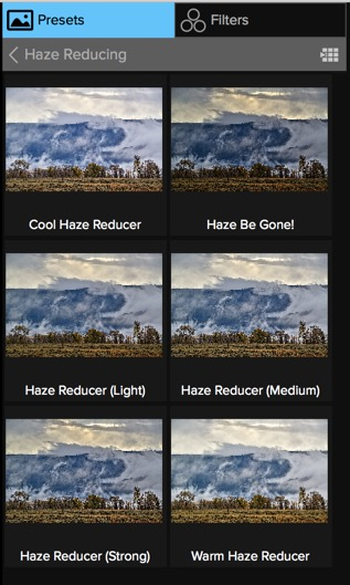 New Haze Reducing presets in Effects.