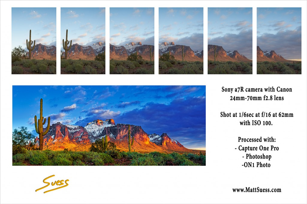 6 photos went into creating this panoramic. The original 6 are shown straight from the camera with no adjustments.