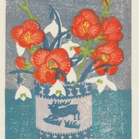 """Japonica and Snowdrops"" woodblock print by Matt Underwood"