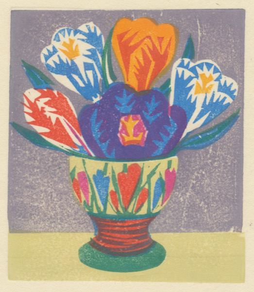 """Crocus Egg Cup"" woodblock print by Matt Underwood"