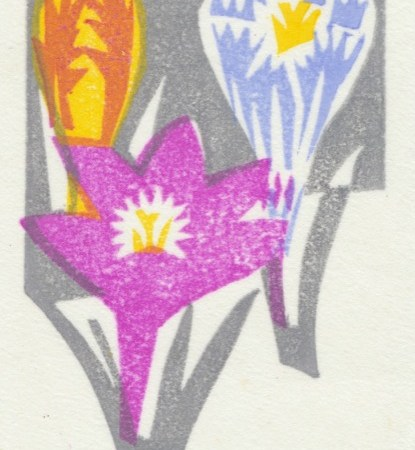 """Crocuses"" woodblock print by Matt Underwood"