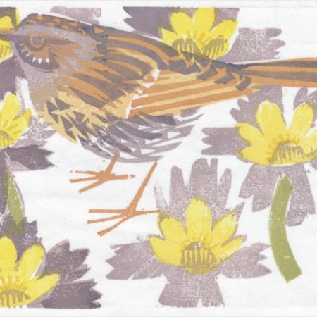 """Dunnock among Aconites"" woodblock print by Matt Underwood"