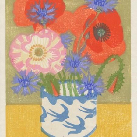 """Poppies and Cornflowers"" woodblock print by Matt Underwood"