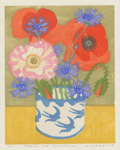 """Poppies and Cornflowers"" woodblock print by Matt Underwood"