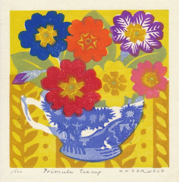 """Primula Teacup"" woodblock print by Matt Underwood"