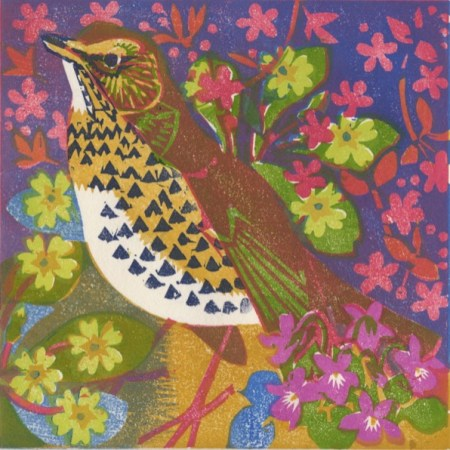 """Song Thrush"" woodblock print by Matt Underwood"