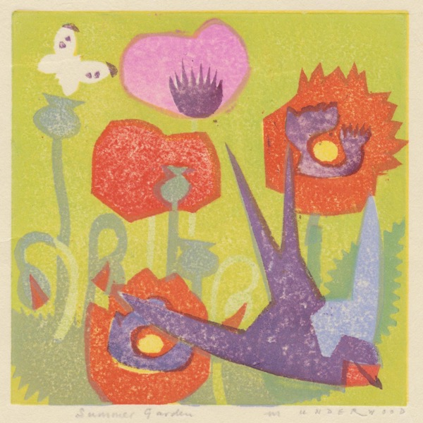 """Summer Garden"" woodblock print by Matt Underwood"
