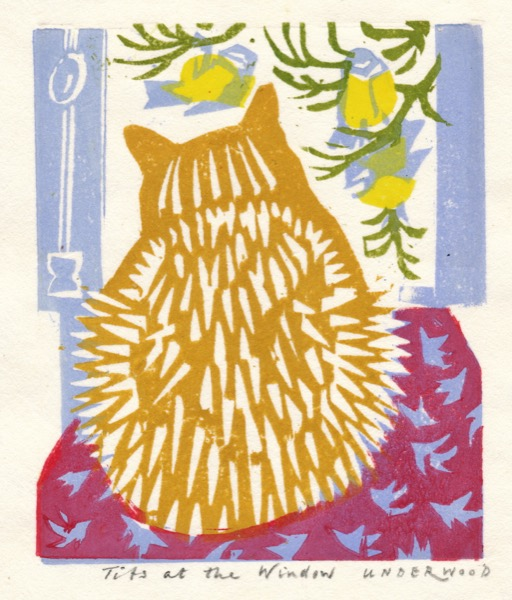 """Tits at the window"" woodblock print by Matt Underwood"