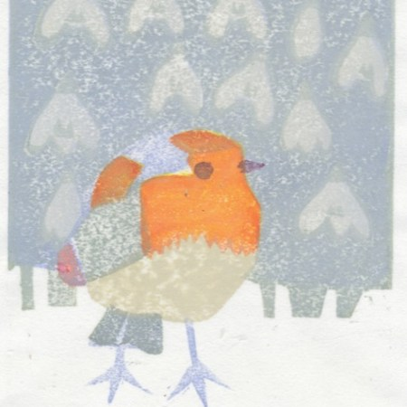 """Winter Robin"" woodblock print by Matt Underwood"