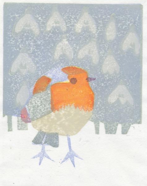"""""""Winter Robin"""" woodblock print by Matt Underwood"""