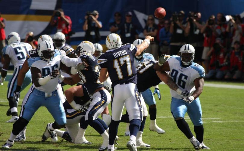 Philip Rivers is an aggressive, 50/50-ball passer . . .   Photo by San Diego Shooter.