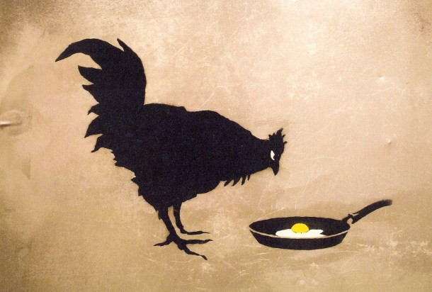The chicken or egg argument in football is between the individual and the team. One example is junior RB Stepfon Jefferson or Nevada's offensive scheme (artwork by Banksy, photo by Jan Slangen).
