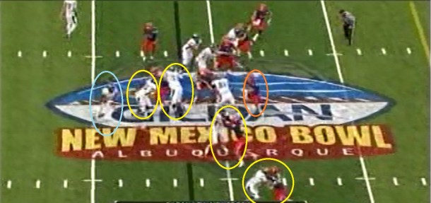 The two pulling guards opt to double team the penetration up the middle.