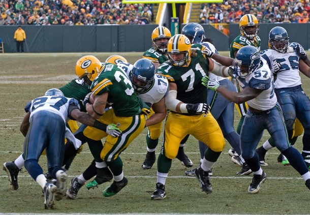 Hell, I might lure Ahman Green out of retirement just to show I can get 4.5 yards per carry with retired backs behind my line. Okay, maybe not - but you get the point that adding No.71 Josh Sitton to my stable is ridiculous. Photo by Mike Morbeck.