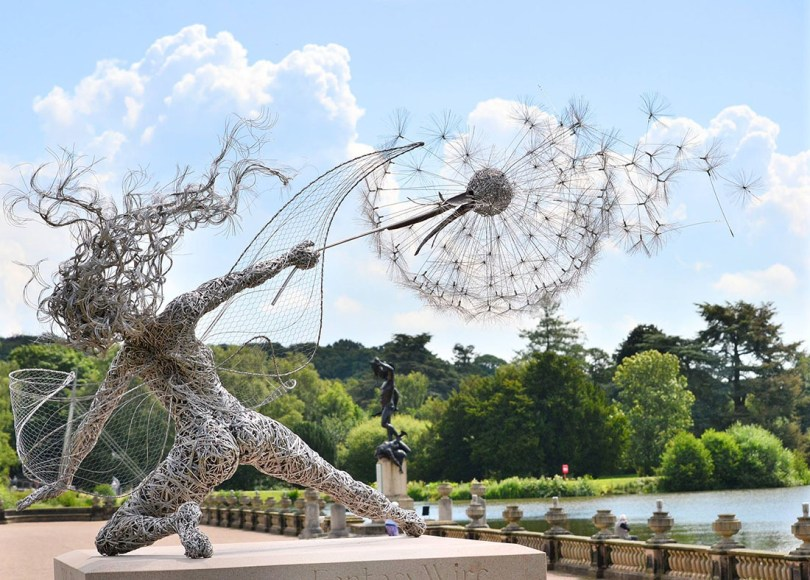 Sculpture by Robin Wright. Photo by Jo Fitzpatrick. The rest at http://www.thisiscolossal.com/2014/07/dramatic-stainless-steel-wire-fairies-by-robin-wight/