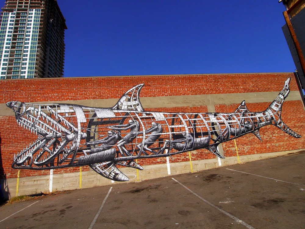 "Mural by ""Phlegm"" found at Colossal. http://www.thisiscolossal.com/2014/11/new-shark-mural-by-phlegm-in-san-diego/"