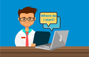 cartoon of me at my desk thinking how to start online business - where do I start?