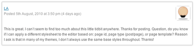 LA's question regarding styling the tinyMCE editor in WordPress