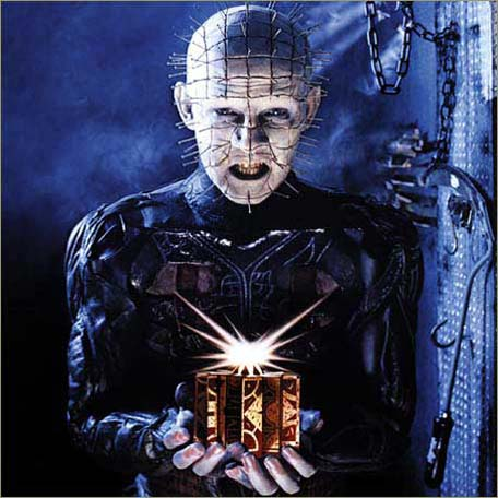 The Demon Pinhead from Hellraiser with his LeMarchand Box...