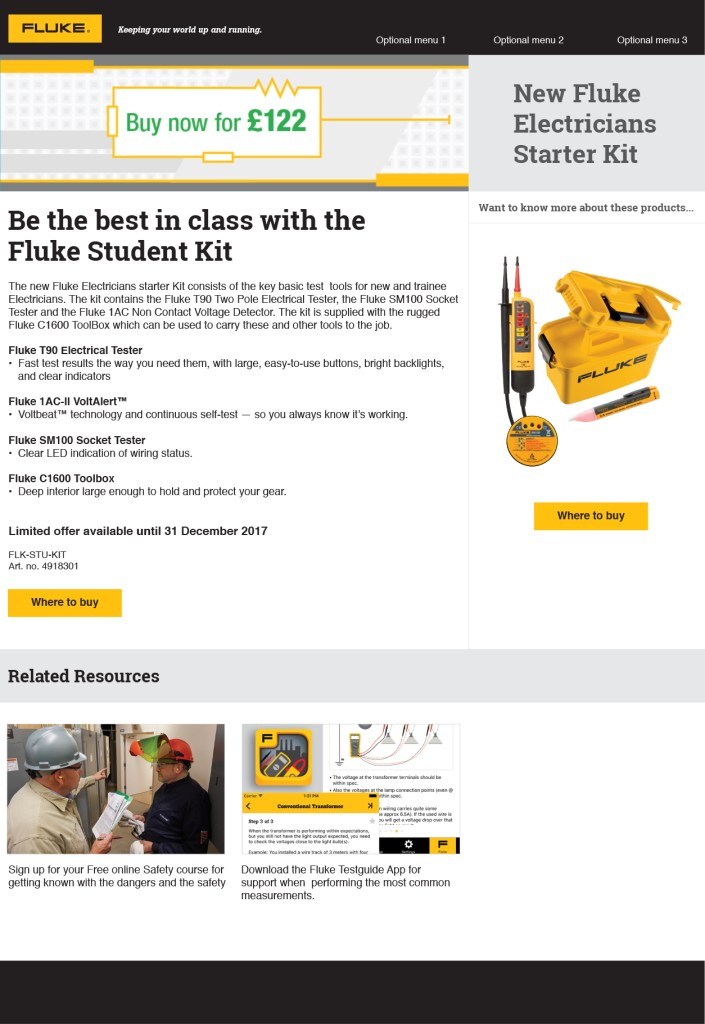 Fluke Electricians Starter Kit, Europe Campaign Landing Page