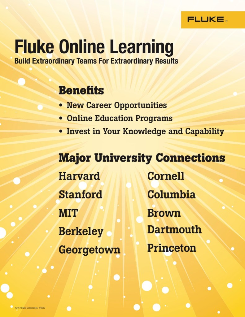 Fluke Day 2017 Fluke Online Learning Table Signs