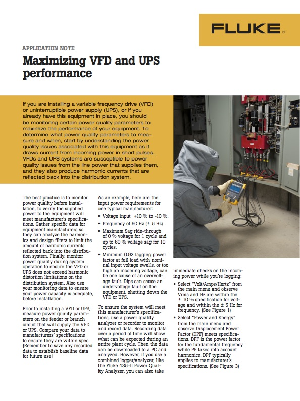 Maximizing VFD and UPS performance