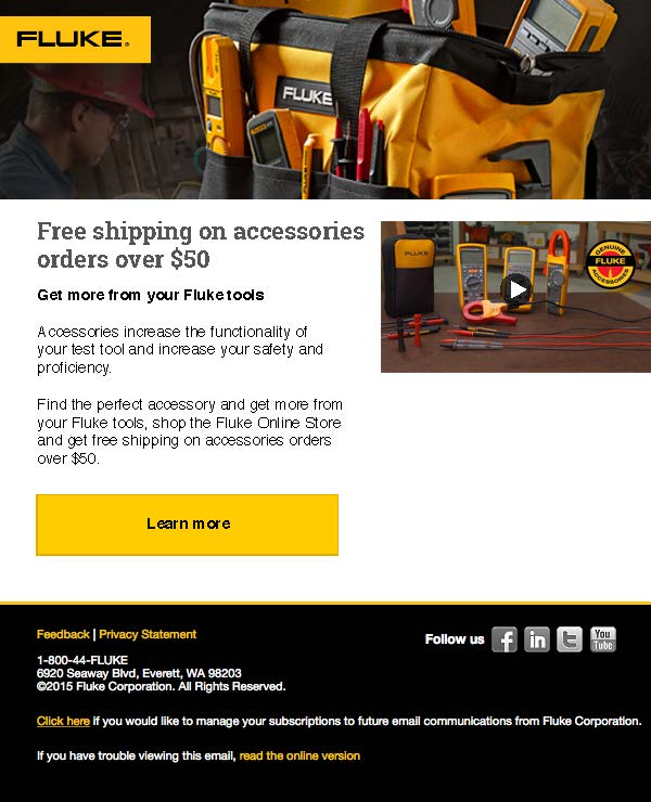 Free Shipping Accessories Campaign, Email