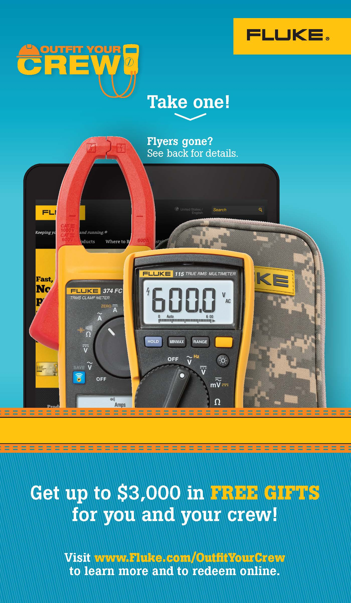 Fluke T3 National Promo, Outfit Your Crew, Counter Caddy