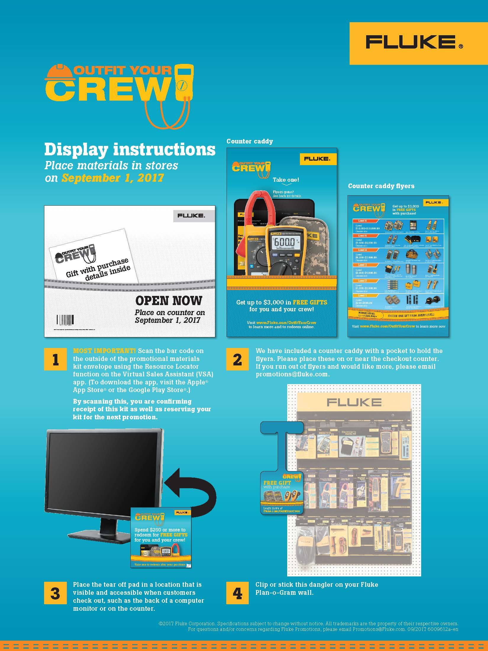 Fluke T3 National Promo, Outfit Your Crew, Instruction Sheet