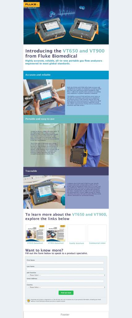 Fluke Biomedical New Product, VT650/VT900 Launch Web Page