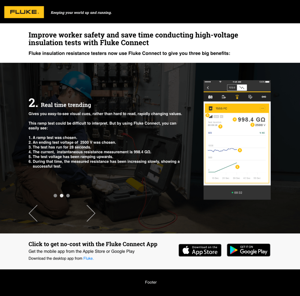 Fluke Connect Insulation Testers, Web Page, Desktop