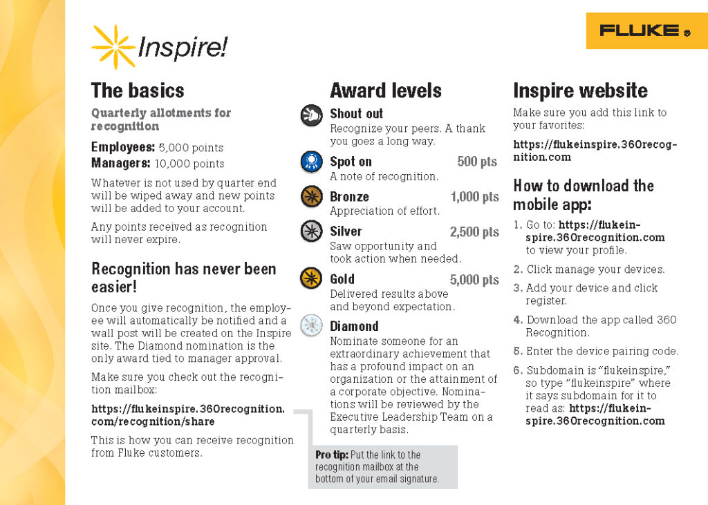 Fluke Inspire Program FAQ Card