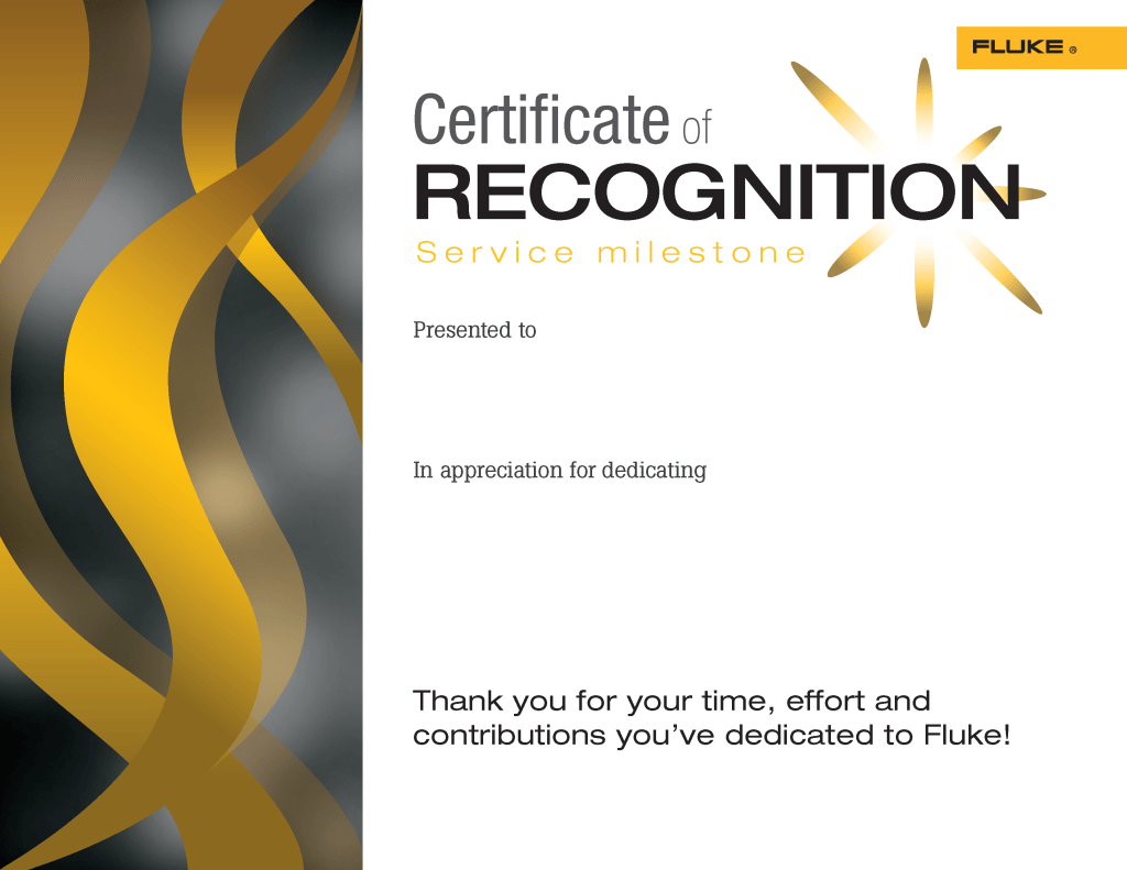 Fluke Inspire Program Certificates of Recognition