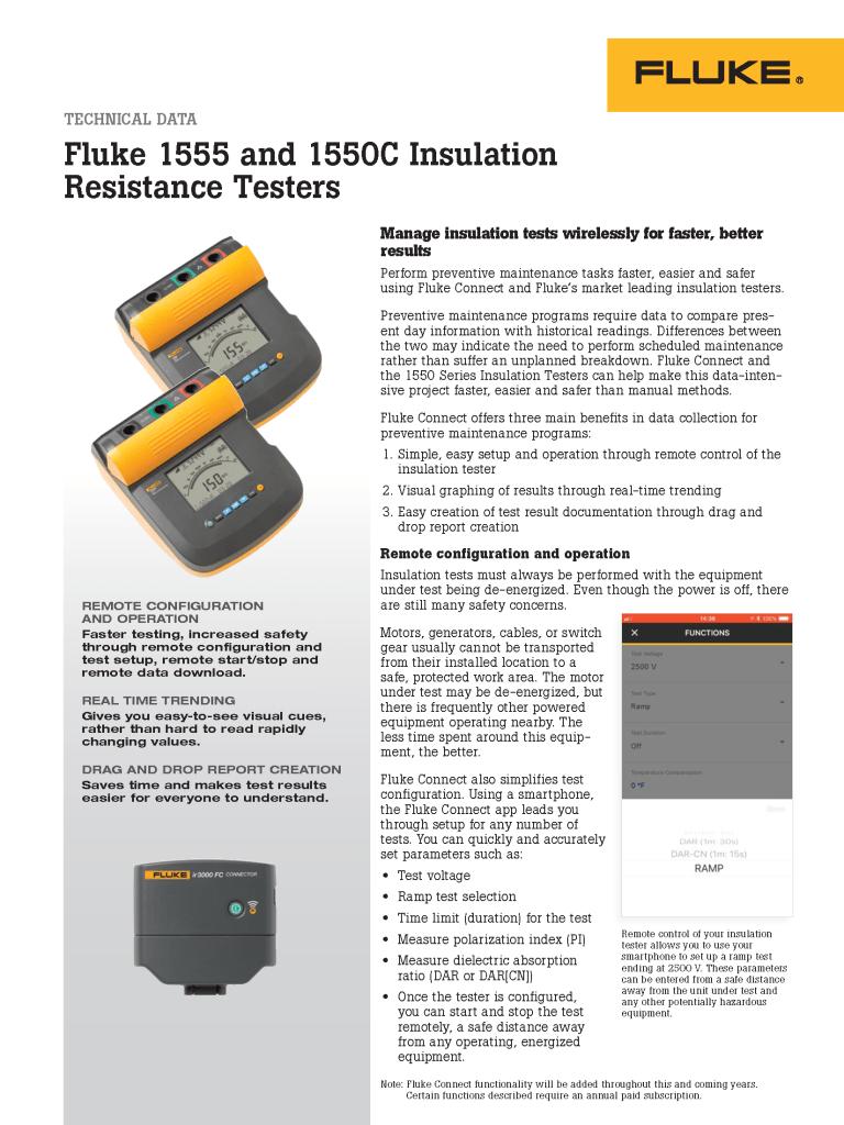 Fluke Connect Insulation Testers Data Sheet