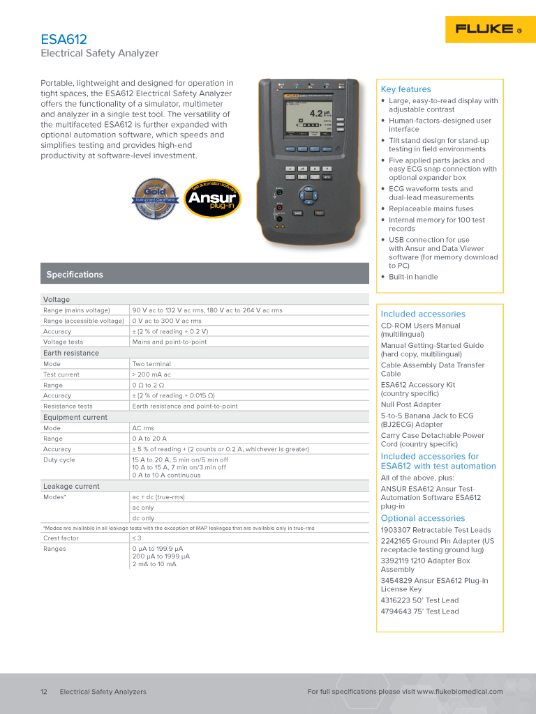 Fluke Biomedical Product Catalog 2018