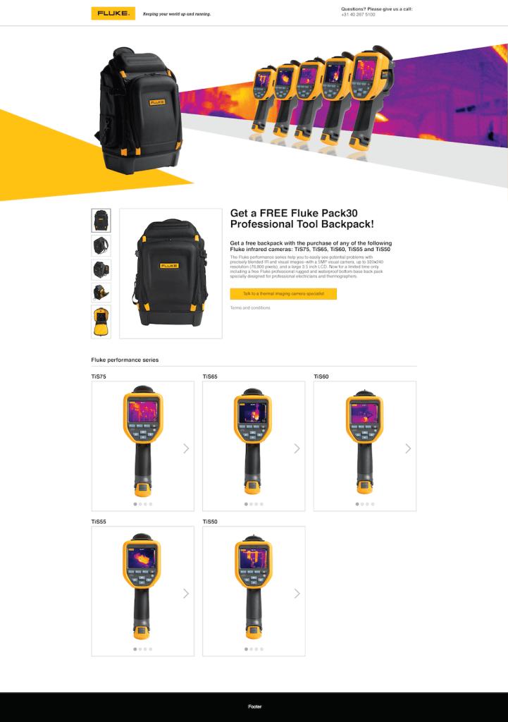 TiS50/TiS75 + Free Backpack Promo Web Page, Desktop