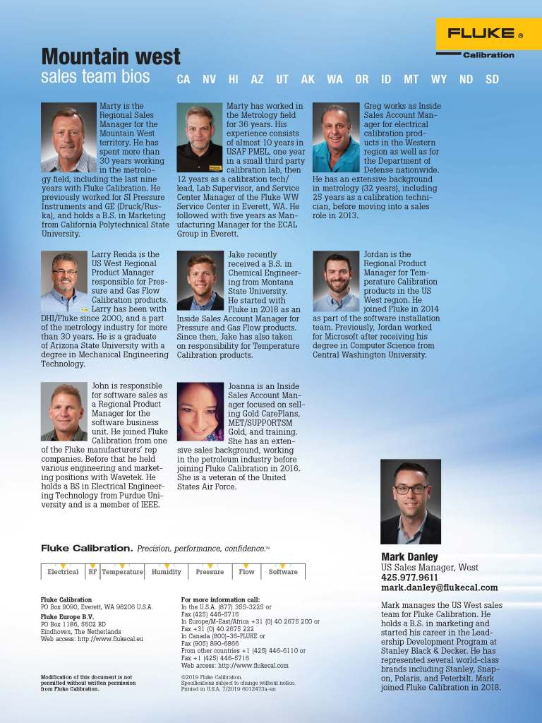FCAL West Sales Team Flyer