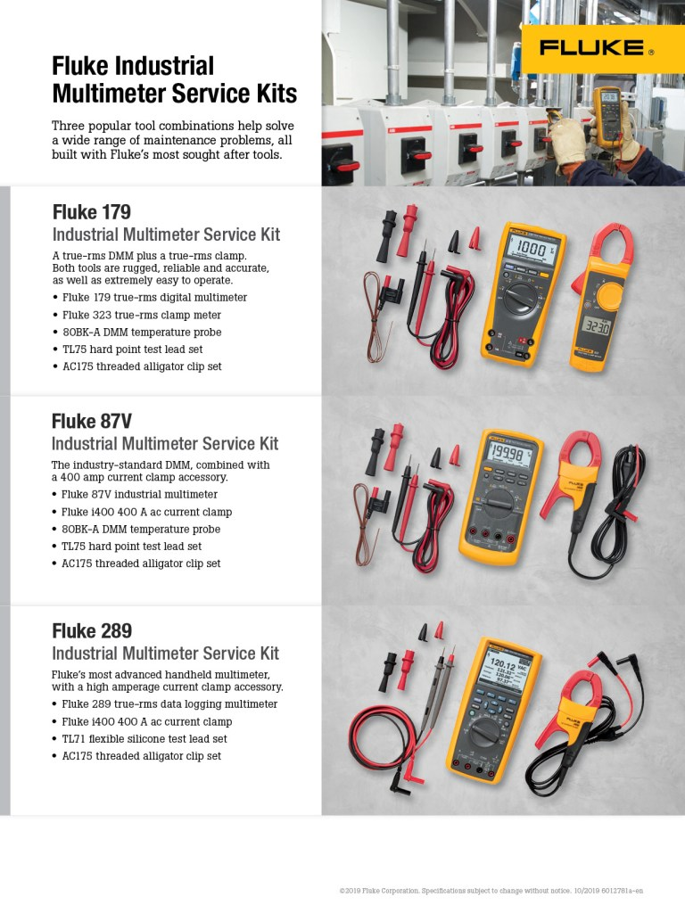 Fluke Industrial Multimeter Service Kit Flyer