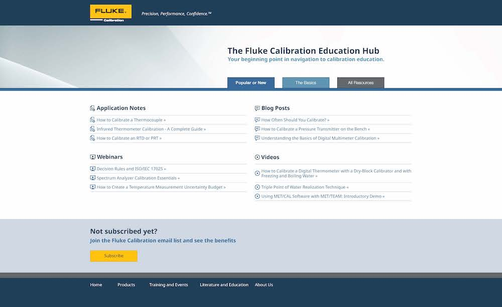 Fluke Calibration Education Hub