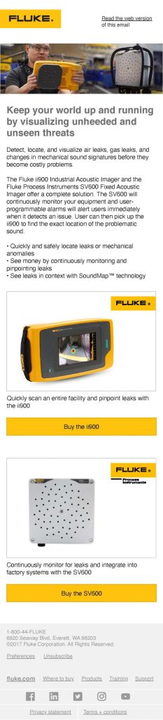 Fluke Industrial Acoustic Imager Email