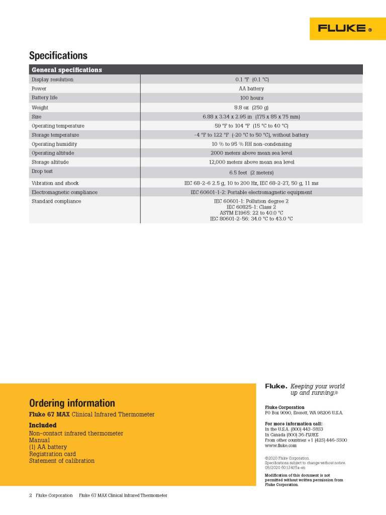 Fluke 67 MAX Clinical Infrared Thermometer Campaign, datasheet