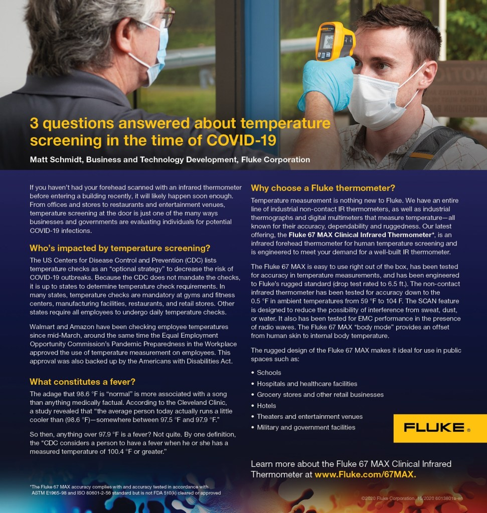 Fluke 67 MAX Clinical Infrared Thermometer Campaign, Article