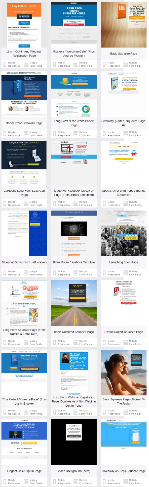 available leadpages landing page templates