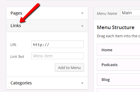 wordpress menu links