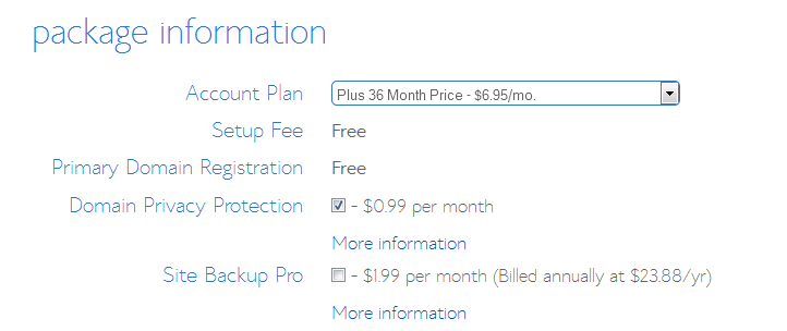 select your bluehost plan