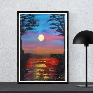 """Poster paysage """" Lever du soleil """" Format A3 Disponible"""