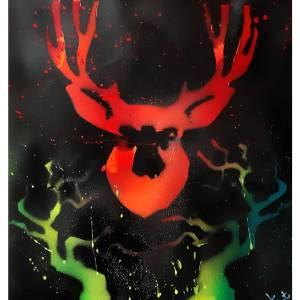 """Poster format A3 """" Cerf dans la nuit """" Disponible"""